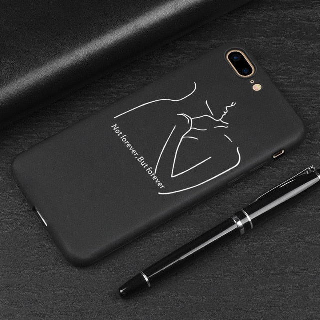 3D Relief Phone Case For iPhone 6 6s 7 8 Plus X 5 5s SE Cover Cute Cartoon Love Heart Soft TPU Black Capa For iPhone 8 XR XS Max