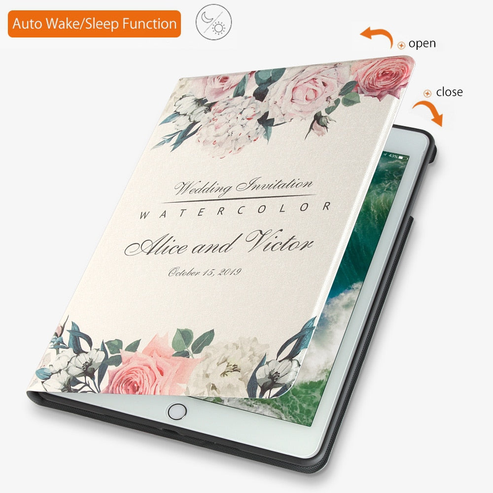 Case For New 2017 2018 iPad 9.7 inch Air 2 ZVRUA illustrations Soft silicone with Auto Wake Up/Sleep Function Stand Smart Cover