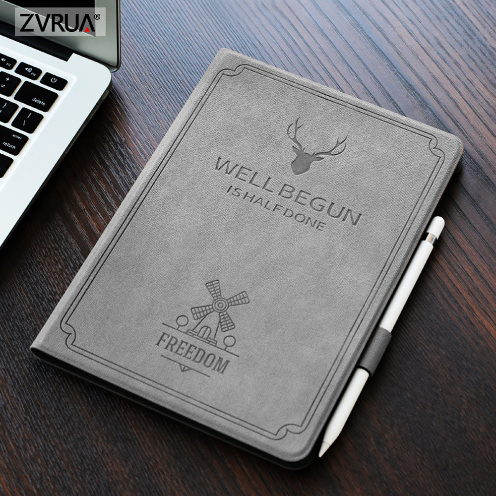 For New iPad 9.7 inch 2017 2018 Air 1 2, Auto Sleep Smart Cover Deer Pattern PU Leather Soft silicone Case with Pencil Holder