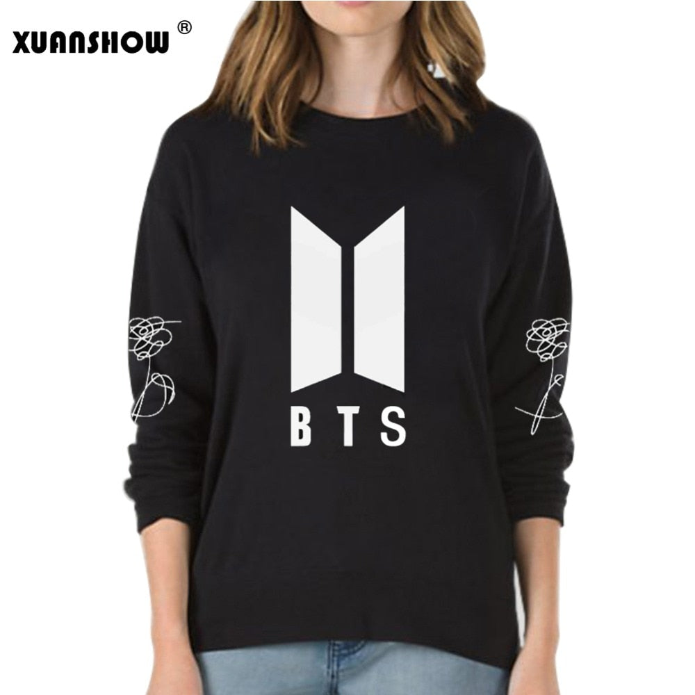 2018 New BTS Bangtan Boys Kpop Album Love Yourself Answer Fans Clothing Casual Letters Printed Pullover Tops