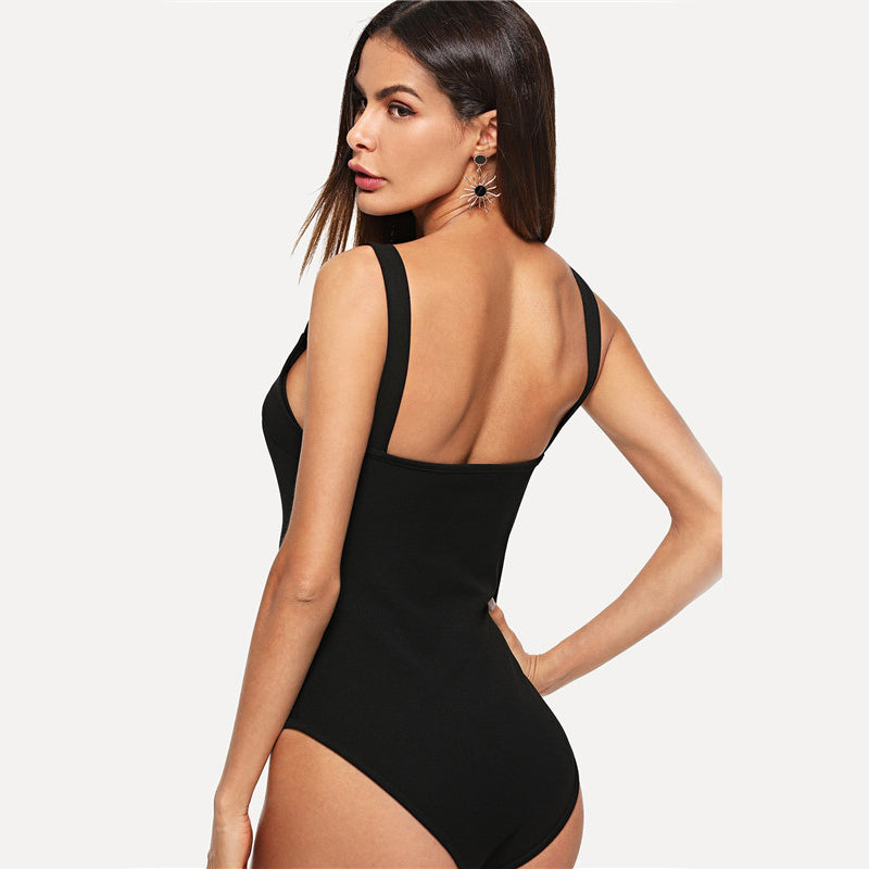 Black V Cut Front Form Fitting Strap Sexy Skinny Bodysuit 2018 Summer V Neck Sleeveless Elegant Women Bodysuits