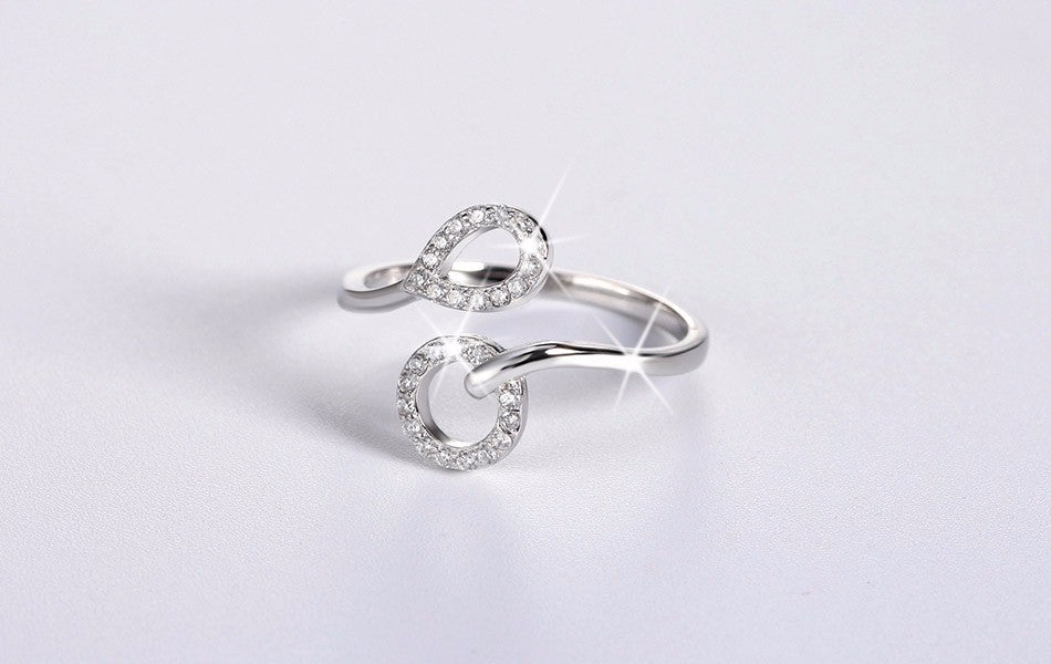 Genuine 925 Sterling Silver Women Rings with AAA Austrian Cubic Zirconia Wedding Bands Ring Jewelry for Lady