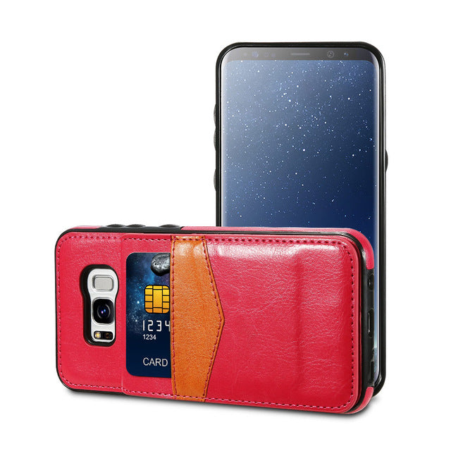 Leather Case For Samsung Galaxy S9 S8 Plus Retro Flip Wallet Case Card Holders Vertical Cover For Samsung S7 S6 edge