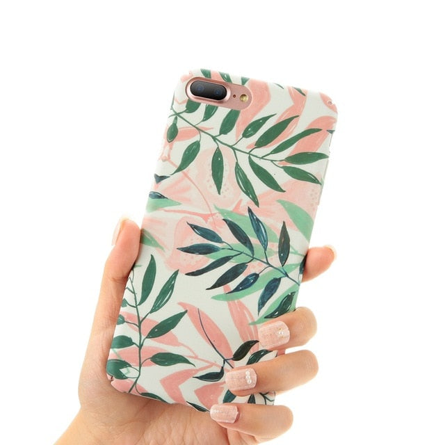 Matte Case For iPhone X XS Max Xr Phone Case For iPhone 7 6 6s Plus Tropical Style Hard Case For iPhone 8 8 Plus Fundas
