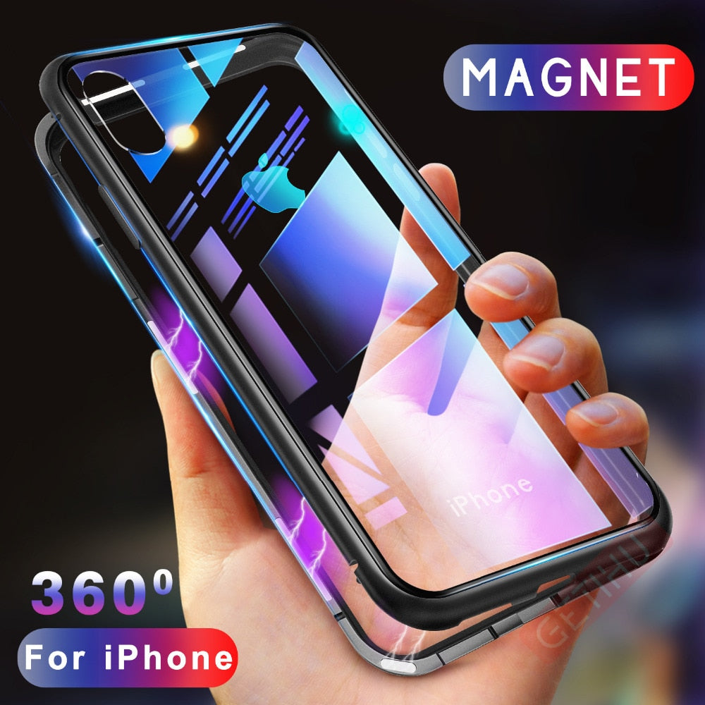 Magnetic Adsorption Case for iPhone XR XS MAX X 8 Plus 7 6S + Metal Tempered Glass Back Cover for iPhone 7 6 6S Plus Case