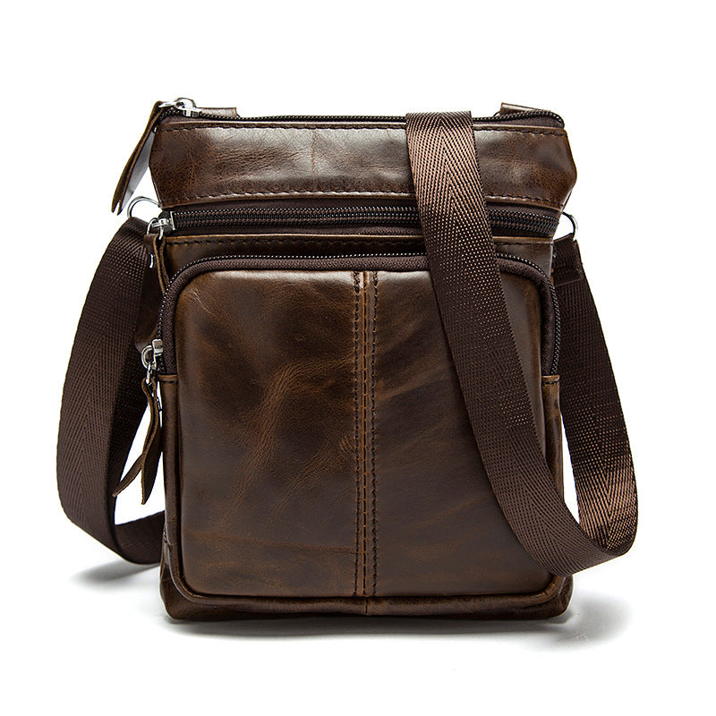 Genuine Leather shoulder bags Vintage men Crossbody Bag Designer Natural cowhide Small square Travel bag