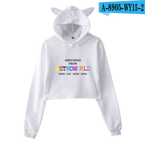 BTS Crop Top Sportswear Women Travis Scotts Hip Hop Tracksuit ASTROWORLD Sport Hoodies Running Gym Fitness Sports Pullover