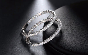 Silver Color High Polished Hoop Earrings Paved with AAA Austrian Cubic Zirconia for Wedding Party Jewelry