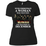 A woman who watches The walking dead and was born in December t shirt Ladies' Boyfriend shirt