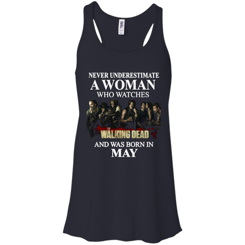 A woman who watches The walking dead and was born in May t shirt Racerback Tank