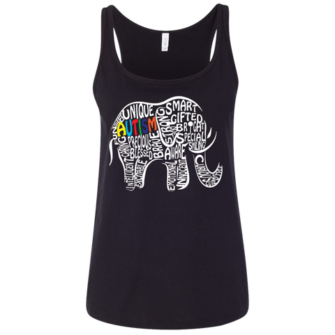 Autism Awareness Elephant t shirt Ladies' Relaxed Jersey Tank