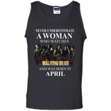 A woman who watches The walking dead and was born in april t shirt Cotton Tank Top