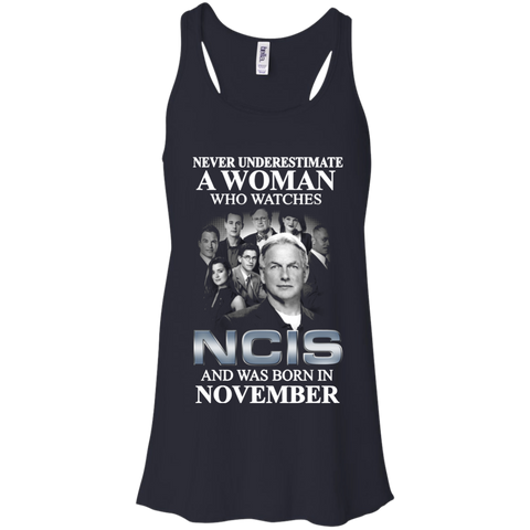 A woman who watches NCIS and was born in November t shirt Racerback Tank