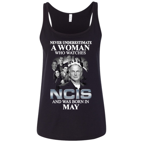 A woman who watches NCIS and was born in May t shirt Ladies' Relaxed Jersey Tank