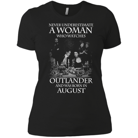 A woman who watches Outlander and was born in AUGUST t shirt Ladies' Boyfriend shirt
