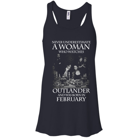 A woman who watches Outlander and was born in FEBRUARY t shirt Racerback Tank