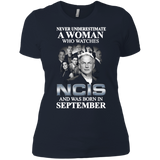 A woman who watches NCIS and was born in September t shirt Ladies' Boyfriend shirt