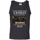 A woman who watches The walking dead and was born in July t shirt Cotton Tank Top
