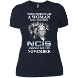 A woman who watches NCIS and was born in November t shirt Ladies' Boyfriend shirt