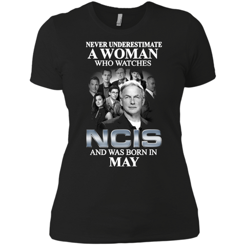 A woman who watches NCIS and was born in May t shirt Ladies' Boyfriend shirt