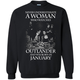 A woman who watches Outlander and was born in JANUARY t shirt Sweatshirt