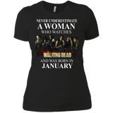 A woman who watches The walking dead and was born in January t shirt Ladies' Boyfriend shirt