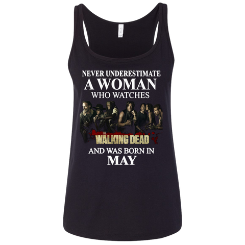A woman who watches The walking dead and was born in May t shirt Ladies' Relaxed Jersey Tank