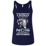 A woman who watches NCIS and was born in September t shirt Ladies' Relaxed Jersey Tank
