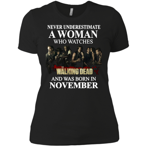 A woman who watches The walking dead and was born in November t shirt Ladies' Boyfriend shirt