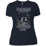 A woman who watches Outlander and was born in June t shirt Ladies' Boyfriend shirt