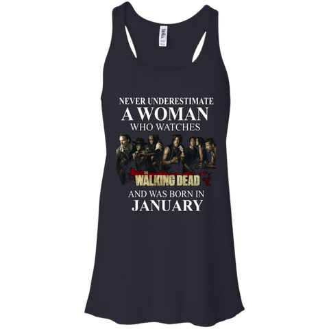 A woman who watches The walking dead and was born in January t shirt Racerback Tank