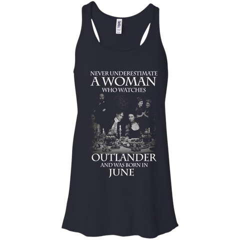 A woman who watches Outlander and was born in June t shirt Racerback Tank