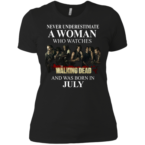 A woman who watches The walking dead and was born in July t shirt Ladies' Boyfriend shirt