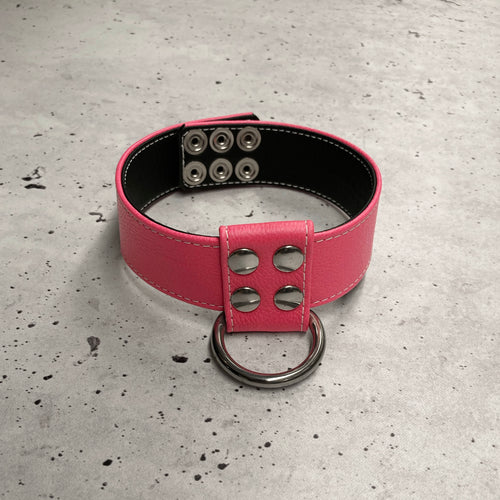 SAMPLE SALE - ONE ONLY - D-Ring Collar - Pink - Size M