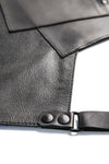 Black leather cross back apron