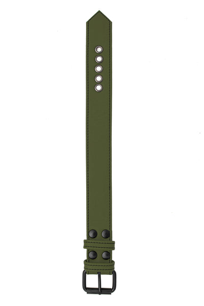 "1.5"" army green leather armband belt with matt black buckle"