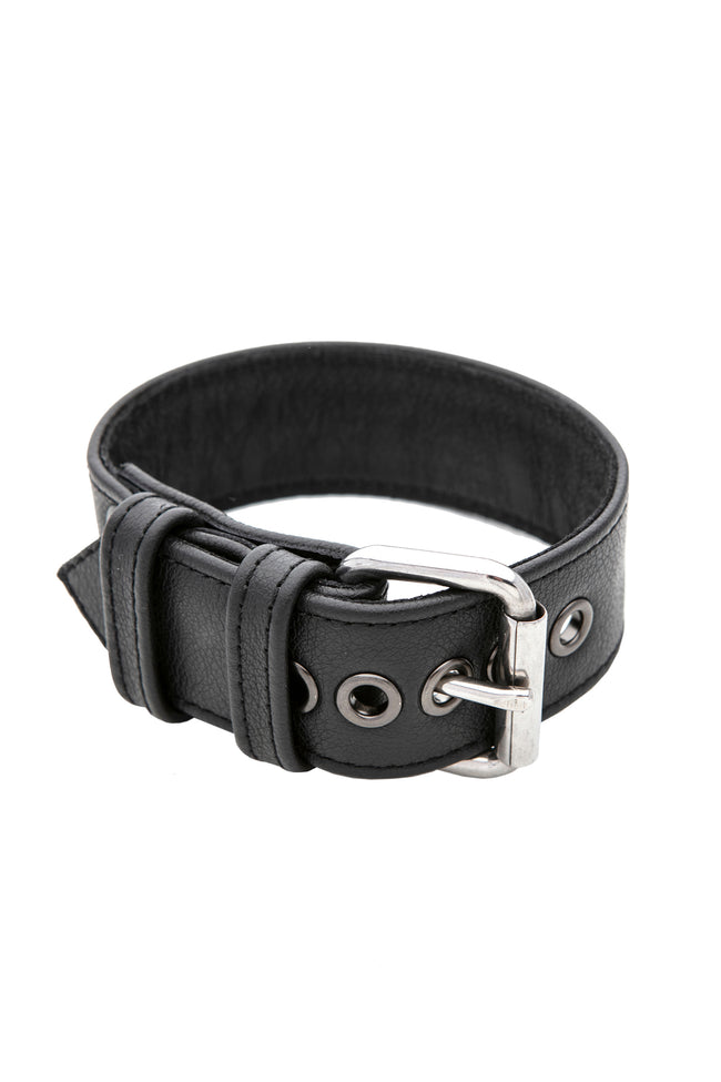 Black leather armband belt with stainless steel buckle