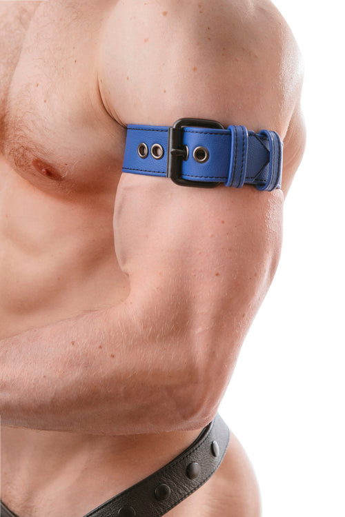 Model wearing a blue leather armband belt