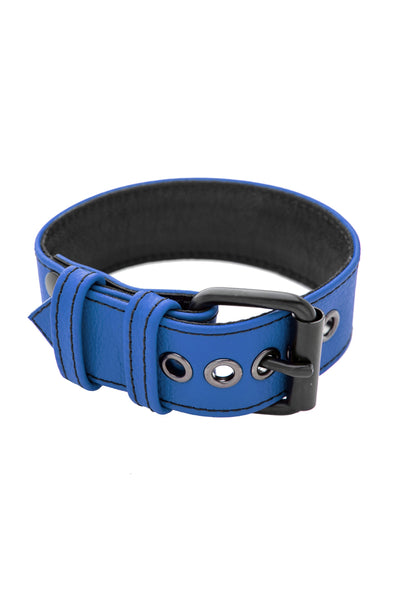 "1.5"" blue leather armband belt with matt black buckle"