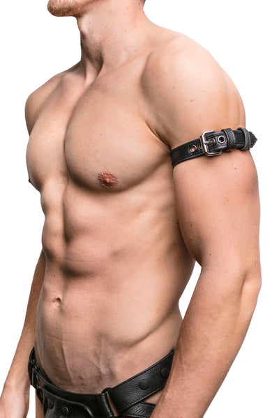 "Model wearing a 1"" black leather combat armband belt with stainless steel hardware"