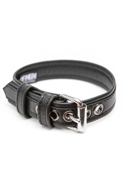 "1"" black leather combat armband belt with stainless steel hardware"