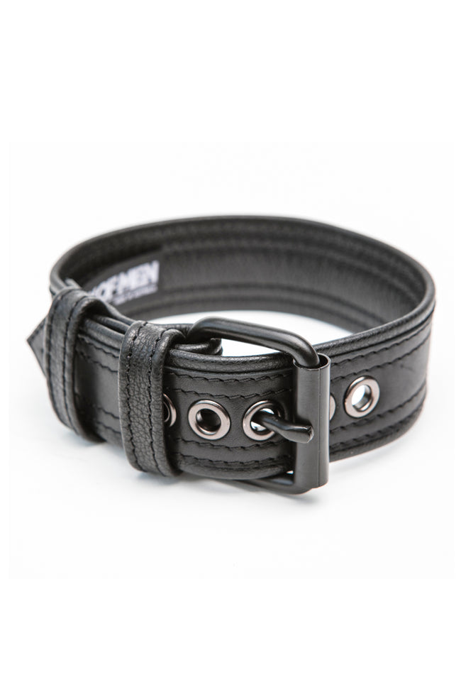 "1.5"" black leather combat armband belt with matt black hardware"
