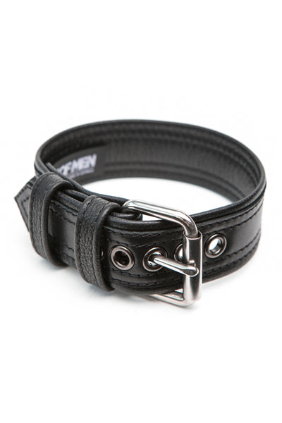 "1.5"" black leather combat armband belt with stainless steel hardware"