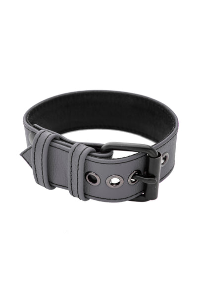 "1.5"" grey leather armband belt with matt black buckle"