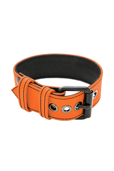 "1.5"" orange leather armband belt with matt black buckle"