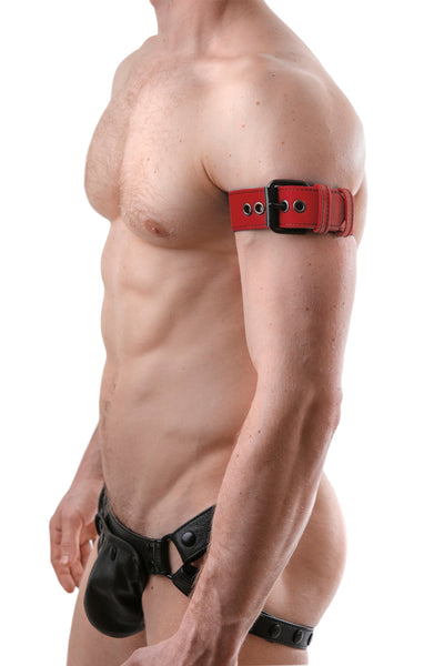 "Model wearing a 1.5"" red leather armband belt with matt black buckle"