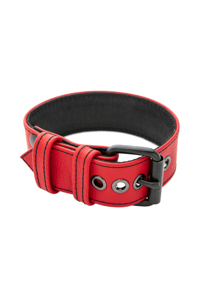 "1.5"" red leather armband belt with matt black buckle"