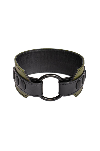 An army green leather armband with black metal O-ring