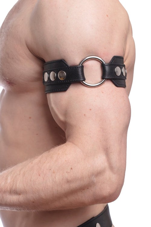 Model wearing a black leather armband with stainless steel O-ring