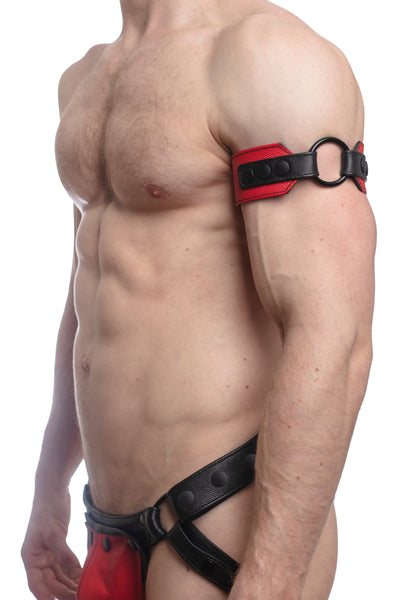 Model wearing a red leather armband with black metal O-ring